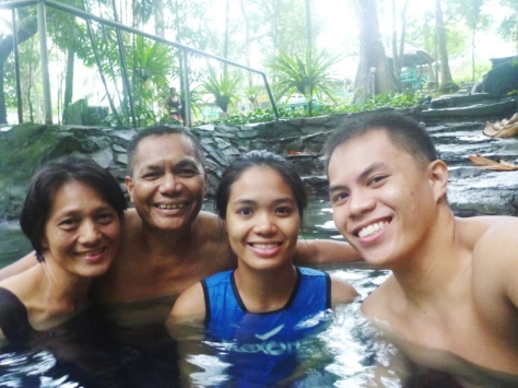 My family at the hot spring pool.