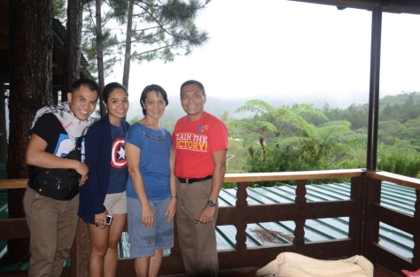 My family at the viewing deck beside the restaurant.